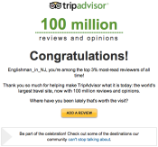 Trip Advisor Top 3% Congratulations Email