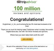 Trip Advisor Top 3% Congratulations Email